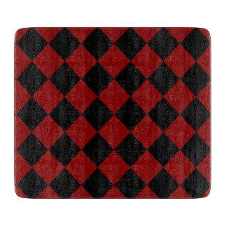 Schwarzer und roter Diamant-Schachbrett-Druck Schneidebrett