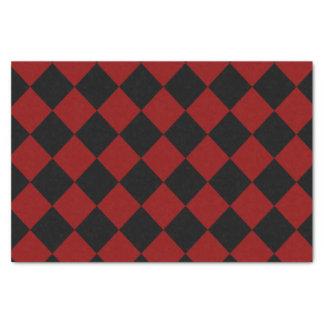 Schwarzer und roter Diamant-Schachbrett-Druck Seidenpapier