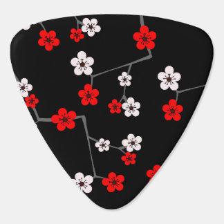 Schwarzer und roter Kirschblüten-Druck Plektrum