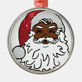 schwarzer Weihnachtsmann Silbernes Ornament