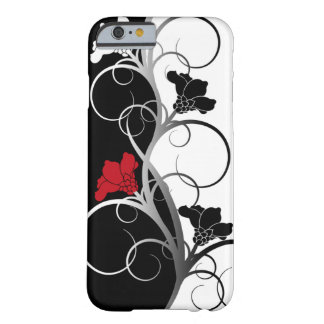 Schwarzer/weißer Blumen iPhone Kasten Barely There iPhone 6 Hülle