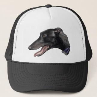 """Schwarzer Windhund-"" Hundekunst-Hut Truckerkappe"