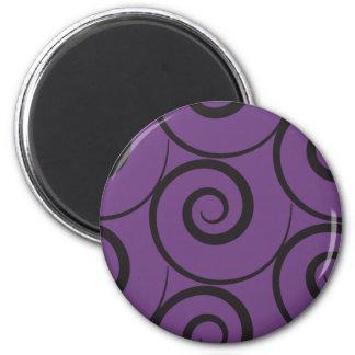 Schwarzer Wirbel auf lila Hintergrund Halloween Runder Magnet 5,7 Cm