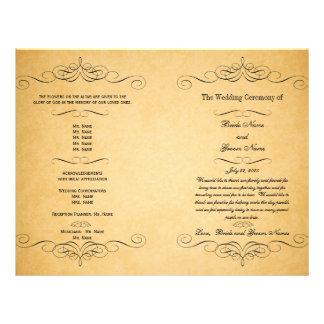 Schwarzer Wirbels-Vintages Hochzeits-Programm Flyer