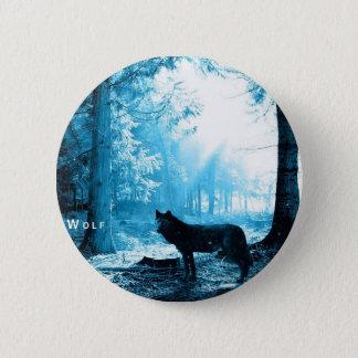 Schwarzer Wolf allein im Wald Runder Button 5,1 Cm