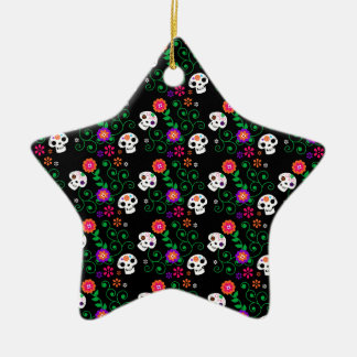 schwarzer Zuckerschädel Keramik Ornament