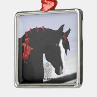 Schwarzes arabisches Pferdeweihnachten Quadratisches Silberfarbenes Ornament