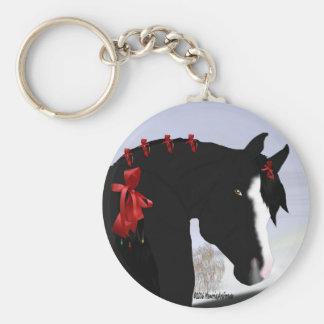 Schwarzes arabisches Pferdeweihnachten Schlüsselanhänger