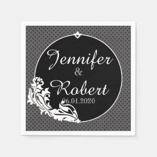 Schwarzes auf schwarzer Tupfen-Hochzeits-Serviette Papierserviette