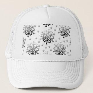Schwarzes auf weißem Schneeflocke-Entwurf Truckerkappe