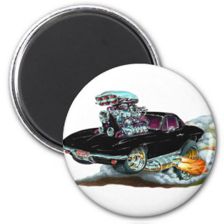 Schwarzes Auto 1966-67 Korvette Runder Magnet 5,1 Cm