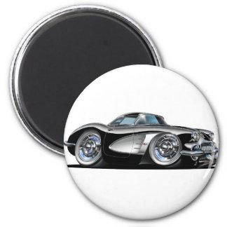 Schwarzes Auto Korvette Runder Magnet 5,7 Cm
