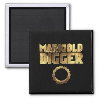 Schwarzes Baggergold der Ringelblume Quadratischer Magnet