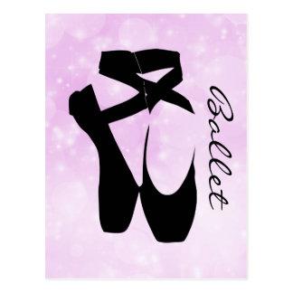 Schwarzes Ballett-Schuh-en Pointe Postkarte