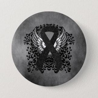 Schwarzes Band mit Flügeln Runder Button 7,6 Cm