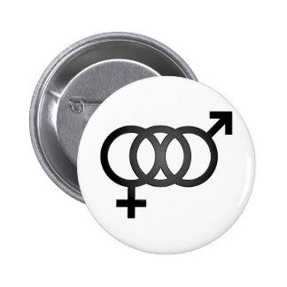 Schwarzes bisexuelles Symbol Runder Button 5,1 Cm