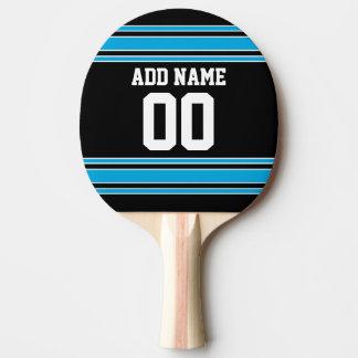 Schwarzes Blau trägt Jersey mit Ihrem Namen und Tischtennis Schläger