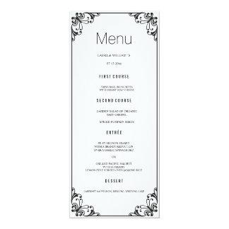 Schwarzes blühen Hochzeits-Abendessen-Menü-Karten Karte