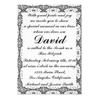 Schwarzes Blumen-Bar Mitzvah/Geburtstags-Einladung Karte