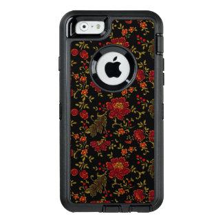 Schwarzes Blumen: OtterBox Verteidiger iPhone 6/6s OtterBox iPhone 6/6s Hülle