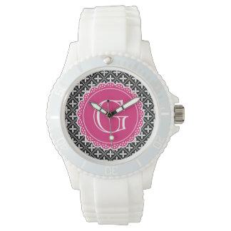 Schwarzes Blumengitter-Muster-Pink-Monogramm Armbanduhr