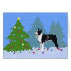 Schwarzes Boston Terrier im Weihnachtswald Karte