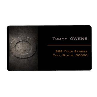 Schwarzes Bronzeadressen-Etikett des