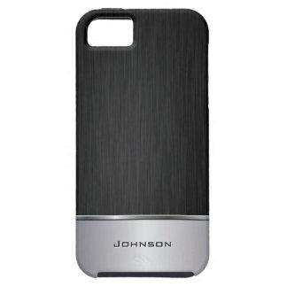 Schwarzes bürstete Metallblick mit silbernem Bar | iPhone 5 Etuis