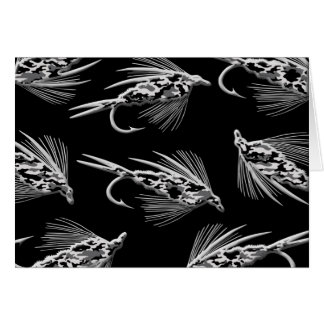 Schwarzes Camouflage-Fliegen-Fischenködermuster Karte