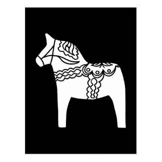 Schwarzes Dala Pferd Postkarte