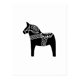 Schwarzes Dala Pferd Postkarten