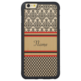 Schwarzes Damast-Monogramm Carved® Maple iPhone 6 Plus Bumper Hülle