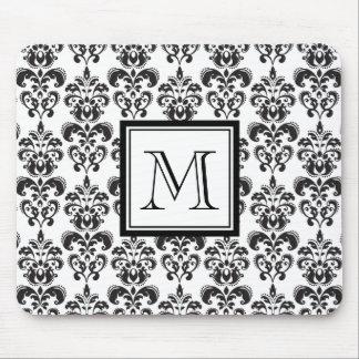 Schwarzes Damast-Muster 2 mit Ihrem Monogramm Mauspads