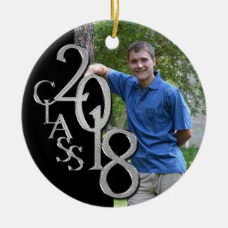 Schwarzes der Klassen-2018 und Silber-graduiertes Rundes Keramik Ornament