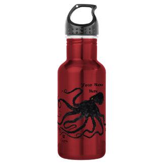 Schwarzes der Kraken-6 auf Rot - 18 Unze. Edelstahlflasche