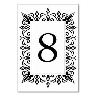 Schwarzes der Marrakesch-Tischnummer-Karten-  Karte