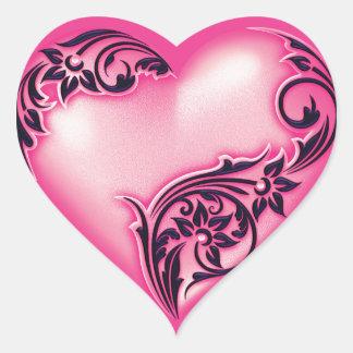 Schwarzes des Herz-Rolle-Licht-Pink-w Herz-Aufkleber