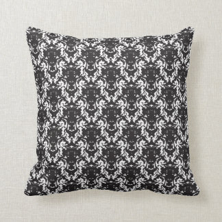 Schwarzes diagonales Vintages Muster des Damastes Kissen