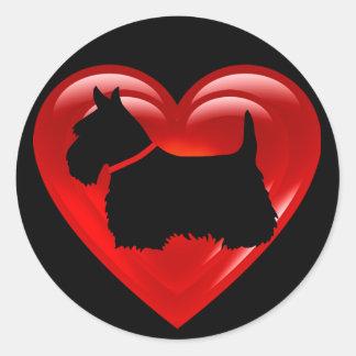 Schwarzes doppeltes rotes Herz/Bogen/Kragen Runder Aufkleber