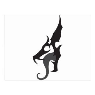 Schwarzes Drache-Logo Postkarte