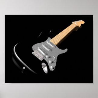 Schwarzes E-Gitarren-Plakat Poster