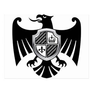 Schwarzes Eagle mit silbernes Schild-königlichem Postkarte