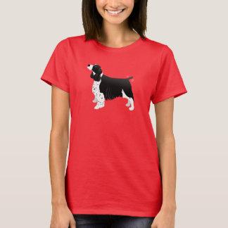 Schwarzes Englisch-Springerspaniel-grundlegende T-Shirt
