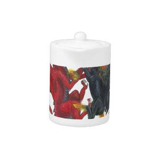 Schwarzes Feuer-Einhorn und roter Drache