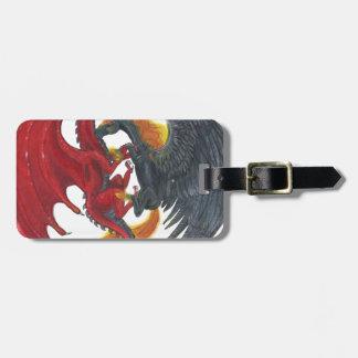 Schwarzes Feuer-Einhorn und roter Drache Gepäckanhänger