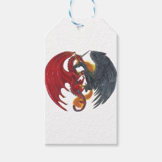 Schwarzes Feuer-Einhorn und roter Drache Geschenkanhänger