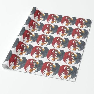 Schwarzes Feuer-Einhorn und roter Drache Geschenkpapier
