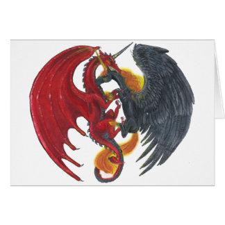 Schwarzes Feuer-Einhorn und roter Drache Karte