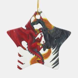 Schwarzes Feuer-Einhorn und roter Drache Keramik Ornament