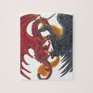 Schwarzes Feuer-Einhorn und roter Drache Puzzle